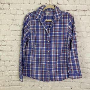 L.L. Bean Purple Plaid Button Down Flannel Shirt